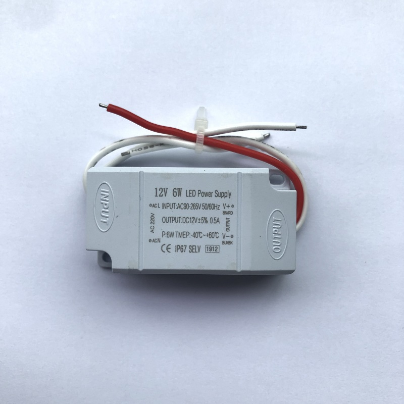 6W 12V Waterproof plastic shell switching power supply Low power Regulated LED driver Waterproof plastic